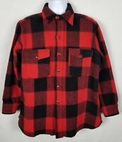 Woolrich Mens L Button Front Wool Vintage Shirt Flannel Buffalo Plaid Red Black