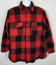 Vintage Woolrich Men's Sz L Button Front Wool Shirt Coat Buffalo Plaid Red Black
