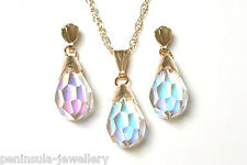 9ct Gold AB Crystal Teardrop Pendant and Earring Set Gift Boxed Made in UK