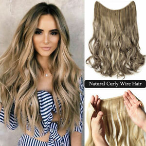 Thick Wavy 100% Remy Human Hair Extensions Invisible Secret Headband Wire 120g