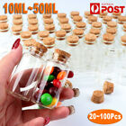 10-50ml Small Glass Vials Container Bottles With Cork Top Tiny Wish Bottles Jar