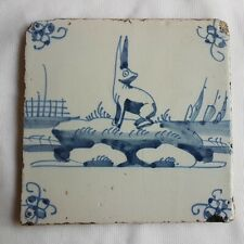 Antique Delft Wall Tile Rabbit Hare blue white delftware