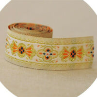 2yds Embroidery Ethnic Lace Ribbon Trim Jacquard Fabric Sewing Tape 0.98'' Width