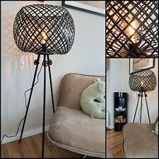 XXL Stehlampe Industrie Metall - Korb Gitter Stehlampe schwarz Dreibein Tripod