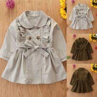 Toddler Kids Baby Girls Fashion Trench Coat Windbreaker Jacket Outwear Tops UK