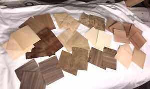 Box of wood veneer offcuts. for crafts, models, hobbies, marquetry.TEA CADDY