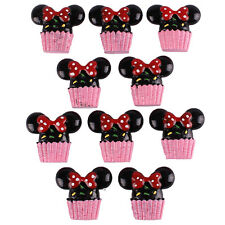 10pcs Resin Minnie Party Sweet Treats Cupcake Flatback Hair Bow Crafts DIY