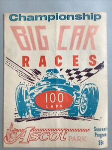1960? ASCOT PARK Big Car Races Championship Souvenir Program 100 Labs