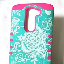 For LG K7 / Tribute 5 - Hybrid HARD&SOFT Impact Armor Skin Case Pink Blue Flower