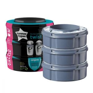 Tommee Tippee Sangenic tec Twist & Click Advanced Nappy Disposal Refill x 3