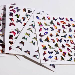 Nail Art Sticker Laser Butterfly Holographic 3D Butterflies Adhesive Decal