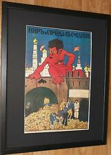 Anti-Trotsky cartel, marco 20''x16'', Póster Enmarcado guerra ruso