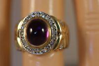 HEAVY WIDE 14K YELLOW GOLD AMETHYST DIAMOND ART DECO FLOWER BALLERINA RING SZ6