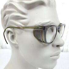 Vtg Safety Glasses Clear Lens Steampunk Sunglasses ☆ Mesh Side Shields ☆ Hornrim