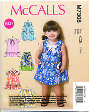 MCCALL'S SEWING PATTERN 7308 TODDLERS/GIRLS 1-4 A-LINE DRESS W/ NECKLINE PLEATS