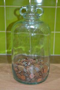 Clear Glass Big Bottle Money Jar Box Piggy Bank Saving Coins Moneybox 4.5 Litre