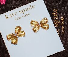 NWT Kate Spade Garden Path BUTTERFLY STUD EARRINGS GOLD CITRINE CRYSTALS MOTH