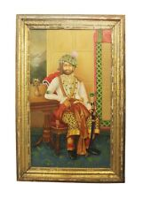 Painting Art Oil Canvas Alwar Maharaja Handmade Vintage Collectible India 639
