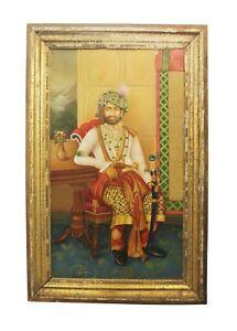 Painting Art Oil Canvas Alwar Maharaja Handmade Vintage Collectible India 639