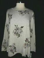 NEW BOBEAU Plus Size 1X Shirt Top Gray Purple Green Floral Long Sleeve
