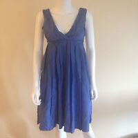 GAP Women's Blue Sleeveless Dress Surplice Empire Waist Cotton Silk Blend Sz 6