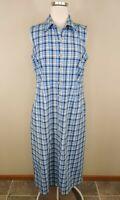 Eddie Bauer Blue Plaid Maxi Shirt Dress Sleeveless Modest Cotton Petite M
