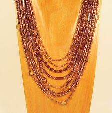 "24"" Waterfall Multi Strand Mixed Bead Copper Colored Handmade Seed Bead Necklace"
