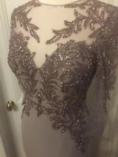 Terani Couture Beaded Taupe Brown Gown Dress Size 4