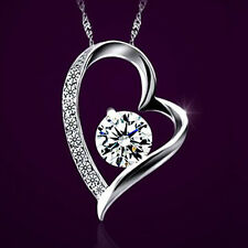 Silver Pendant Crystal Wedding Birthday Gift White Gold fd Chain Necklace +Heart