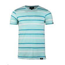 Men's Party Club Wear Ribbed Crew Neck Deformation Resistant Mint Stripe T-shirt