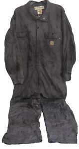 Carhartt FR Flame Resistant Gray Coveralls Distressed Oil Workwear Sz XL Zipper