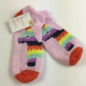 Xhilaration Women's Low Cut Pink Socks Size 4-10 Piñata Multicolor Rainbow NWT