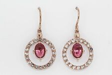 925 Rose Vermeil Pink Tourmaline / White Topaz Earring (4.44 cts)