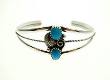 Sterling Silver Old Pawn Style Turquoise Southwestern Cuff Bracelet