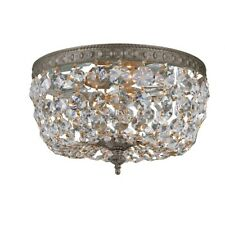 Crystorama 2 Light Clear Italian Crystal Ceiling Mount, Bronze - 710-EB-CL-I