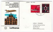 Lufthansa first flight cover Dusseldorf  - Milan Italy 1965 Boeing 727 aviation