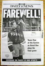 <BEST 1999 NYC newspaper NHL WAYNE GRETZKY RETIRES Plays Last Game w/ NY RANGERS