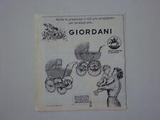 advertising Pubblicità 1962 CARROZZINE PASSEGGINI GIORDANI