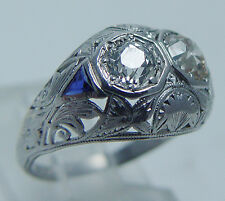 Platinum Diamond Ring Old mine cut Diamonds Triangle Sapphires Vintage Art Deco