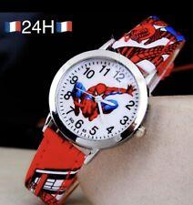 🇫🇷Montre Spiderman Enfant Garcon Rouge Bracelet Cuir Kid Watch Boy🥇
