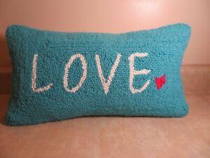 """Love Teal Hooked Wool Pillow 16"""" x 9"""" velvet zippered backing"""