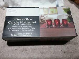 NEW TRUE LIVING ESSENTIALS  3 PIECE RED GLASS CANDLE HOLDER SET W/GLASS STONES