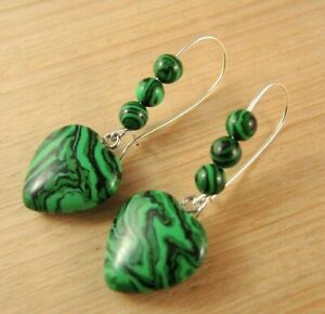 Malachite Gemstone Heart Dangle Bohemian Earrings with Gemstone Beads #870
