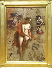 Fine Large Circa 1900 Full Length Studio Nude Lady Portrait Antique Oil Painting