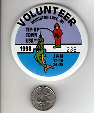 New listing 1998 Tip Up Town Volunteer Badge Pin Pinback-Michigan Dnr Deer Fishing Patches