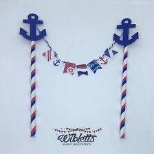 PAPER MINI BUNTING FLAGS PARTY CAKE TOPPER. BLUE WHITE RED NAUTICAL THEME ANCHOR