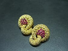 Tiffany & Co.Vintage 1940's SOLID 18 KARAT YELLOW GOLD AND RUBY EARRINGS ESTATE
