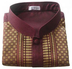 Men's Mandarin Collar Shirts Traditional Thai Silk Short Sleeve Casual Small-3XL