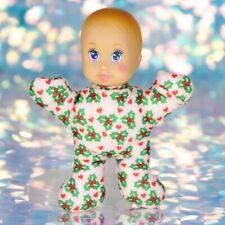 "Christmas MAGIC NURSERY BABY DOLL Pink Holly Hearts 5"" 1993 Vintage Mattel BO024"