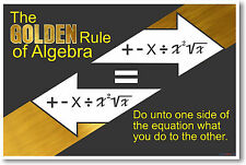 The Golden Rule of Algebra 2 - NEW Classroom Math Poster